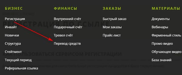 Перевод внутри электронного офиса Гринвей