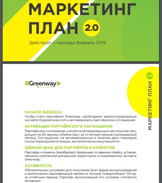 Маркетинг-план Greenway